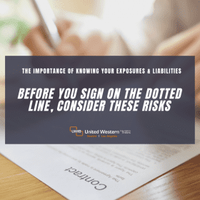 A graphic of someone signing a contract with a warning to consider the risks of signing a contract